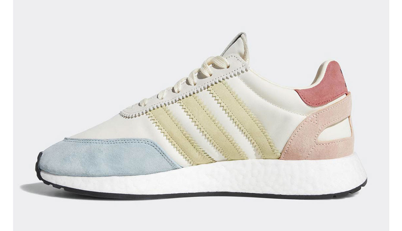 white with rainbow accents adidas sneakers