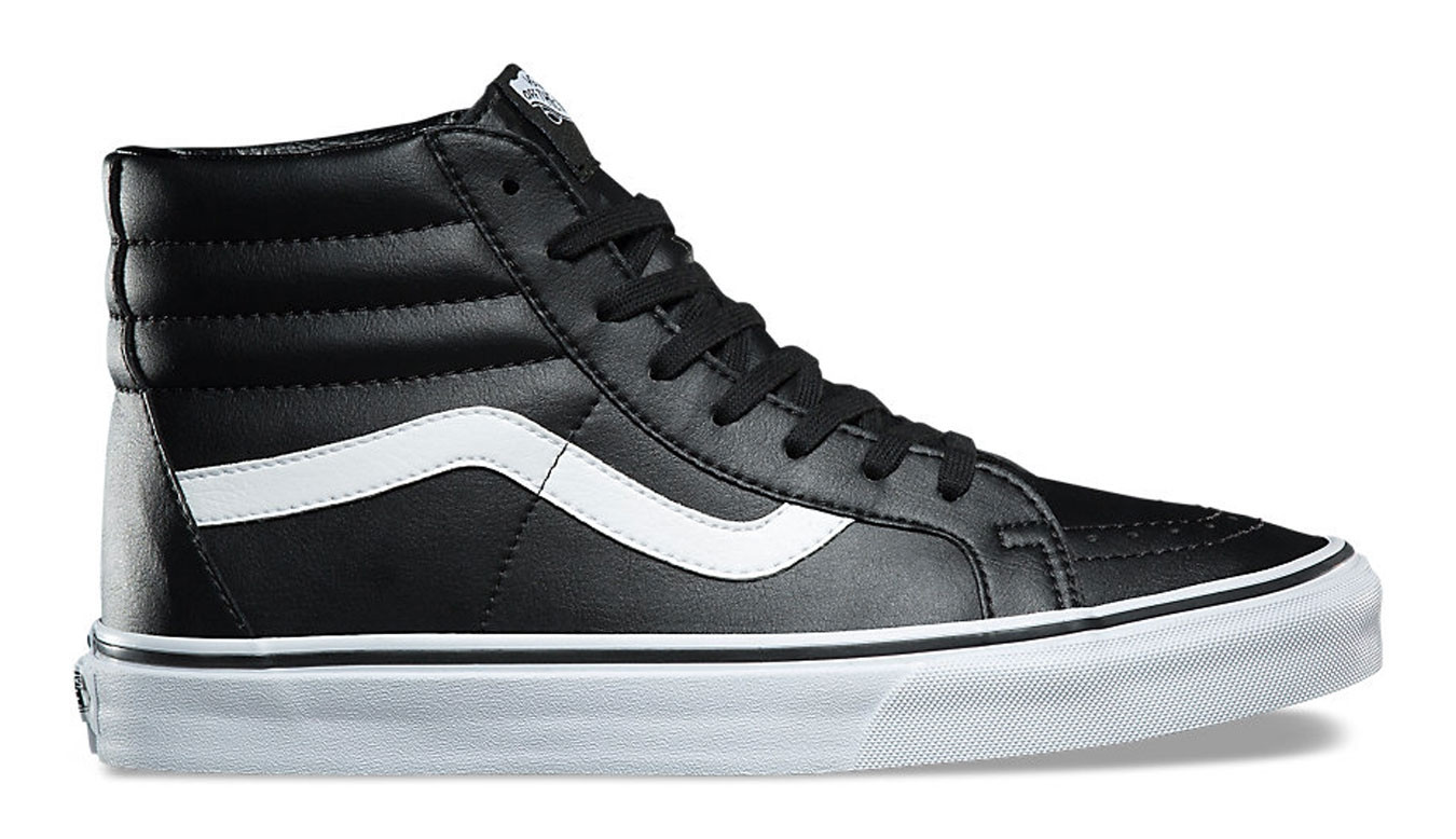 all black leather vans sk8 hi
